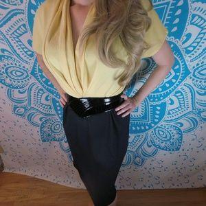 Vintage 80s Office Work Dress Yellow Black M L